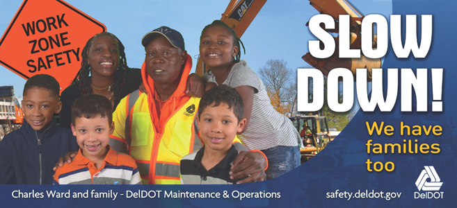 workzone safety billboard image - slow down and stay alert