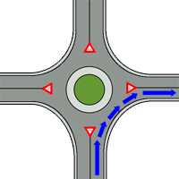 right turn from a roundabout